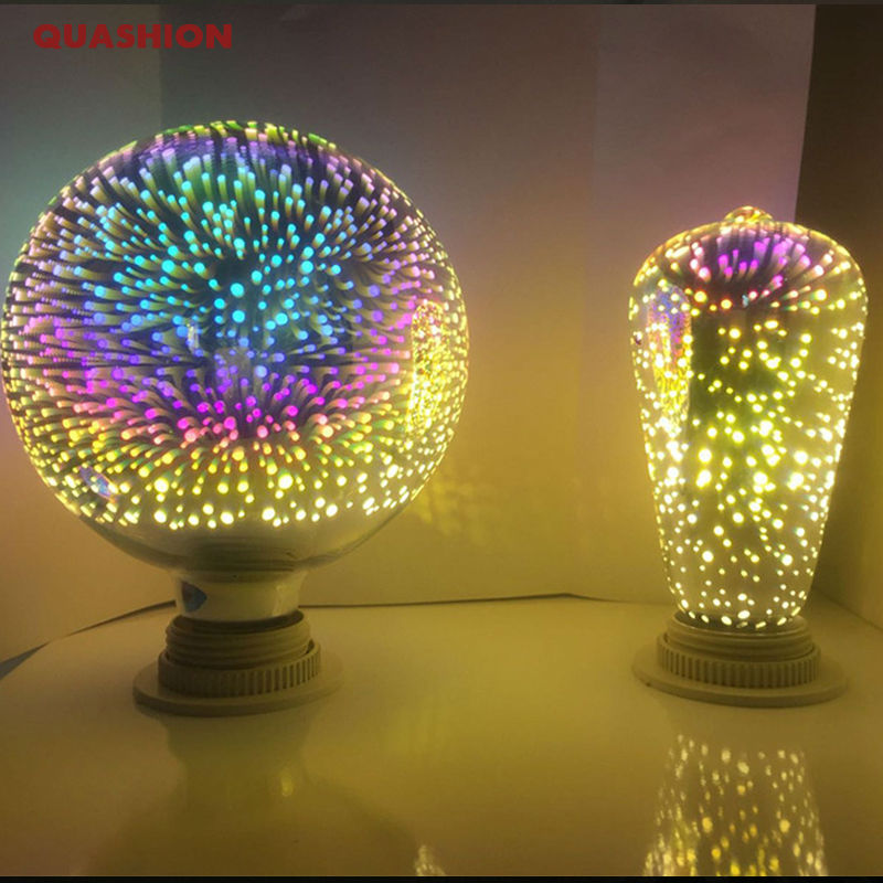New 3D fireworks bulb magic e27 Light tungsten ST64/G95/Diamond/star coloful hotel bar market shop Decorative Lighting