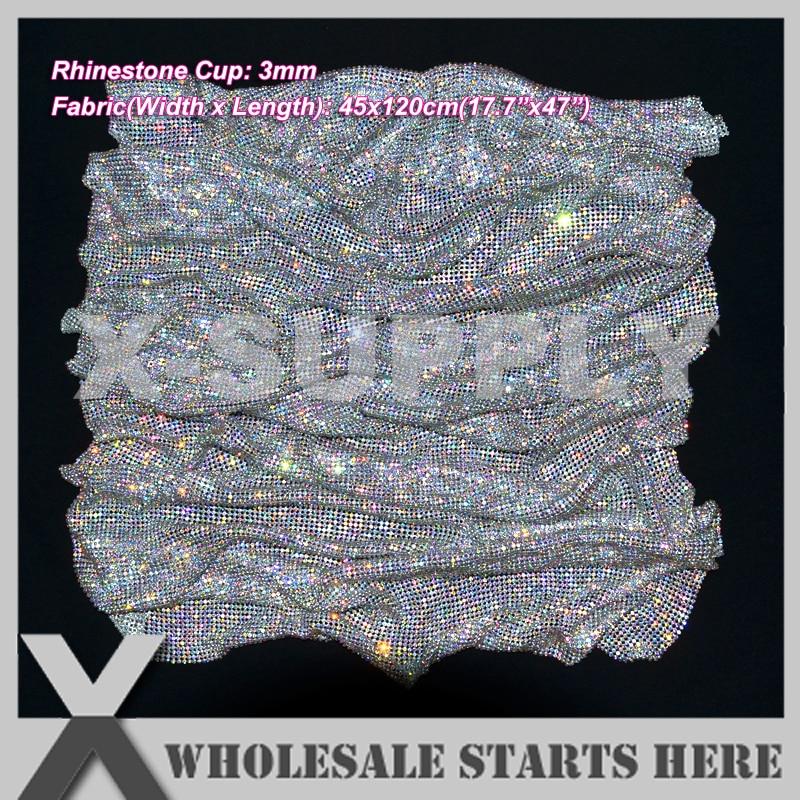 3mm 45x120cm Metal Rhinestone Fabric Mesh Without Iron On Glue Crystal AB Rhinestone in Silver Base
