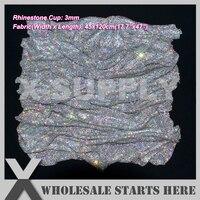 3mm(45x120cm) Metal Rhinestone Fabric Mesh Without Iron On Glue,Crystal AB Rhinestone in Silver Base