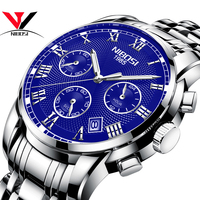 NIBOSI Watches Clock Man Full Steel Blue Classic Chronograph Quartz Clock Man Watches Top Brand Luxury Sports Watches Horloges