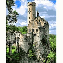 The jungle castle landscape Painting By Numbers Paint On Canvas Acrylic Coloring Painitng For Home Wall Decoration