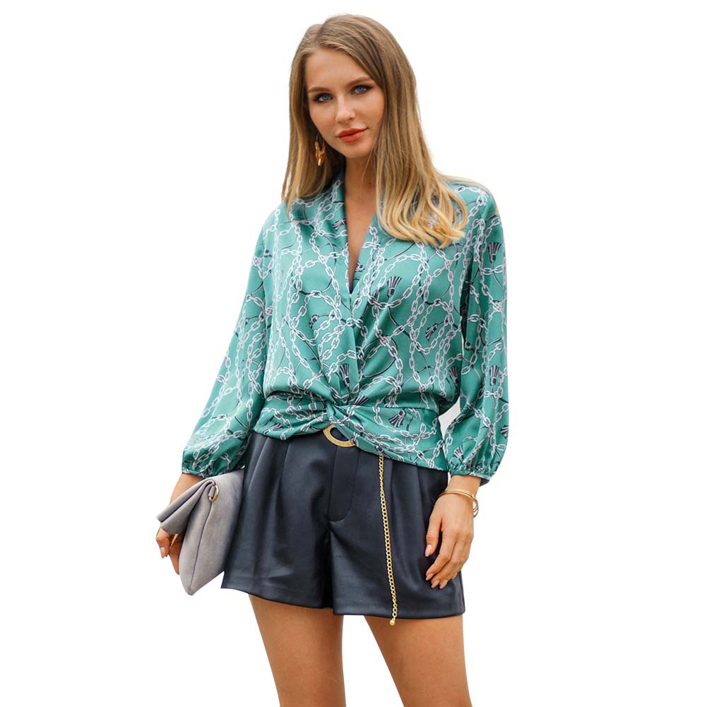 2019 Spring Sexy Blouse Women Chiffon Cross Bandage V Neck Full Sleeves Tops Breathable Fabric Shirts Female Casual Streetwear