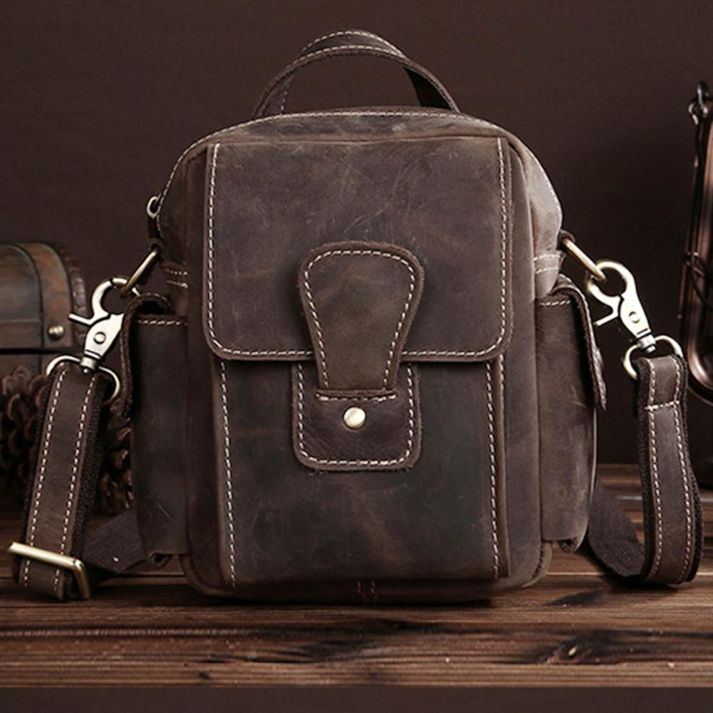 High Quality Crazy Horse Leather Handbag Messenger Shoulder Genuine Cowhide New Men Luxury Business Cross Body Bag Pouch