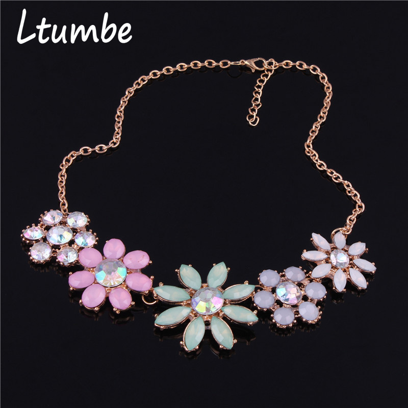 Ltumbe New Maxi Big Flower Crystal Statement Necklaces for Women Elegant Jewelry Hot Sale Multi Color Necklaces Pendants Collier