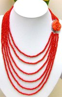 6 Strands 4 5 MM GENUINE NATURAL Red Coral NECKLACE WITH Big Red FLOWER CLASP 5211