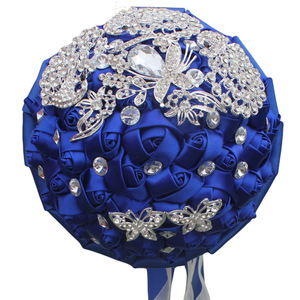 Image 3 - WIFELAI A Wine Red Rose Brooch Throw Wedding Bouquets de mariage Polyester Bridal Wedding Bouquets Pearl Flowers W290 5