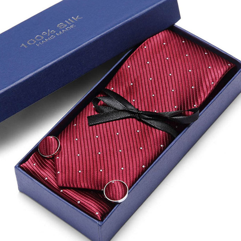 New Models Gift Box Ties Set Pocket square Cufflinks Neck Paisley Tie Mens Blue Black Green pink For Wedding Party