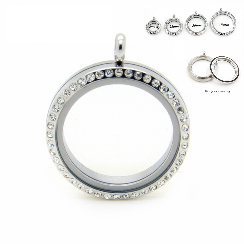 Stainless Steel Floating Locket Pendant With Rhinestone Silver  Screw Living Memory Floating Charm Locket For Women Gift 10pcsfloating  locket pendantlocket pendantstainless steel floating locket -