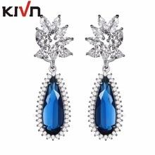 KIVN Fashion Jewelry Drop Dangle Blue CZ Cubic Zirconia Bridal Wedding Earrings for Women Birthday Christmas Gifts