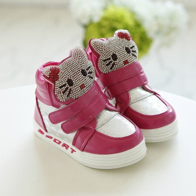 04c8d722f Hello Kitty Shoes Girls Sneakers Rose/Pink/White Rhinestone Velcro Non-slip  Rubber Sole Children Shoes
