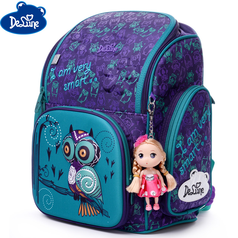 3D Delune Primary School Bags For Girls Cartoon Owl Children Orthopedic Pattern Book Satchels 6-108 Mochila Infantil Grade 1-3