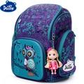 Delune оригинальные животные шаблон школьные рюкзаки для девочек Сова медведи детский ортопедический рюкзак 6-108 Mochila Infantil Класс 1-3-5