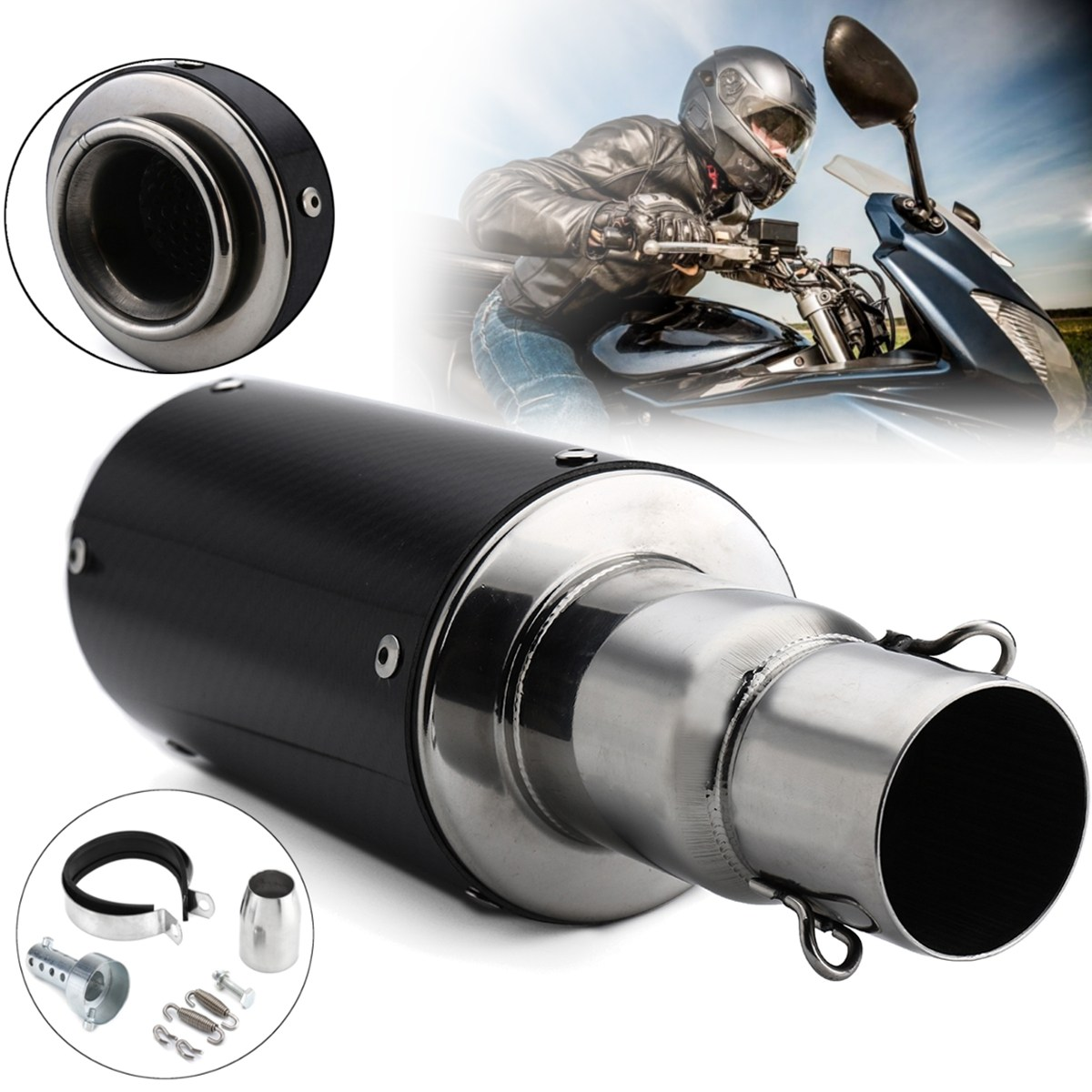 38~51mm Smooth Carbon Fiber Stainless Steel Universal Motorcycle Exhaust Muffler Pipe For Dirt Street Bike Scooter ATV Quad