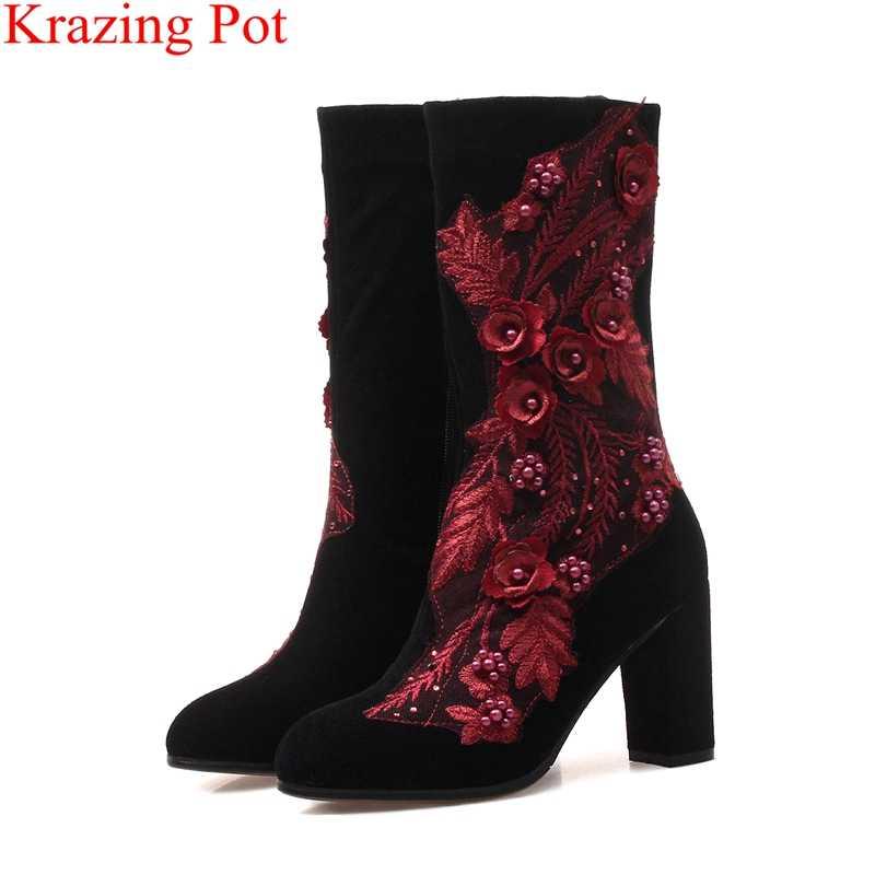 2018 moda yuvarlak ayak akın fermuar kadın orta buzağı çizmeler yüksek topuklu marka oyalamak bling çiçek perçin muhtasar kış ayakkabı L21