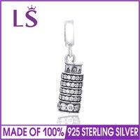 LS старинное серебро Пизанская башня Талисманы Круглый Spacer Бусины DIY стерлингового серебра 925 Ювелирные украшения решений