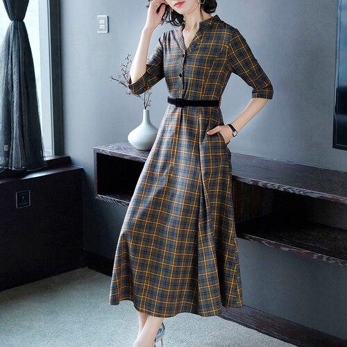 Vintage Korean A line Plaid Yellow Dress Women High Waist V neck Fashion Elegant Artistic Long Dresses Womens 2019 Spring