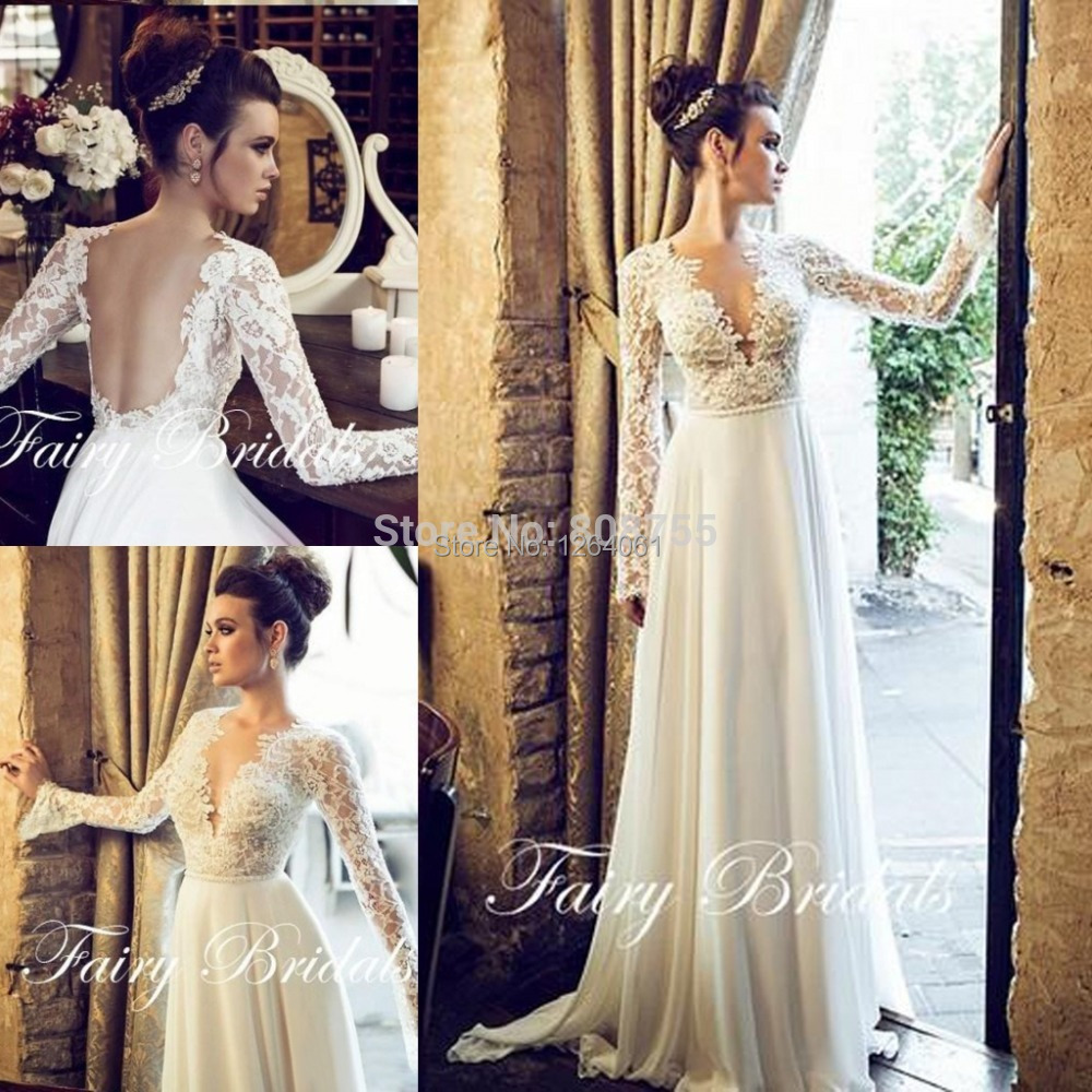 Deep v neck a line wedding dress lace illusion long for Long sleeve chiffon wedding dress