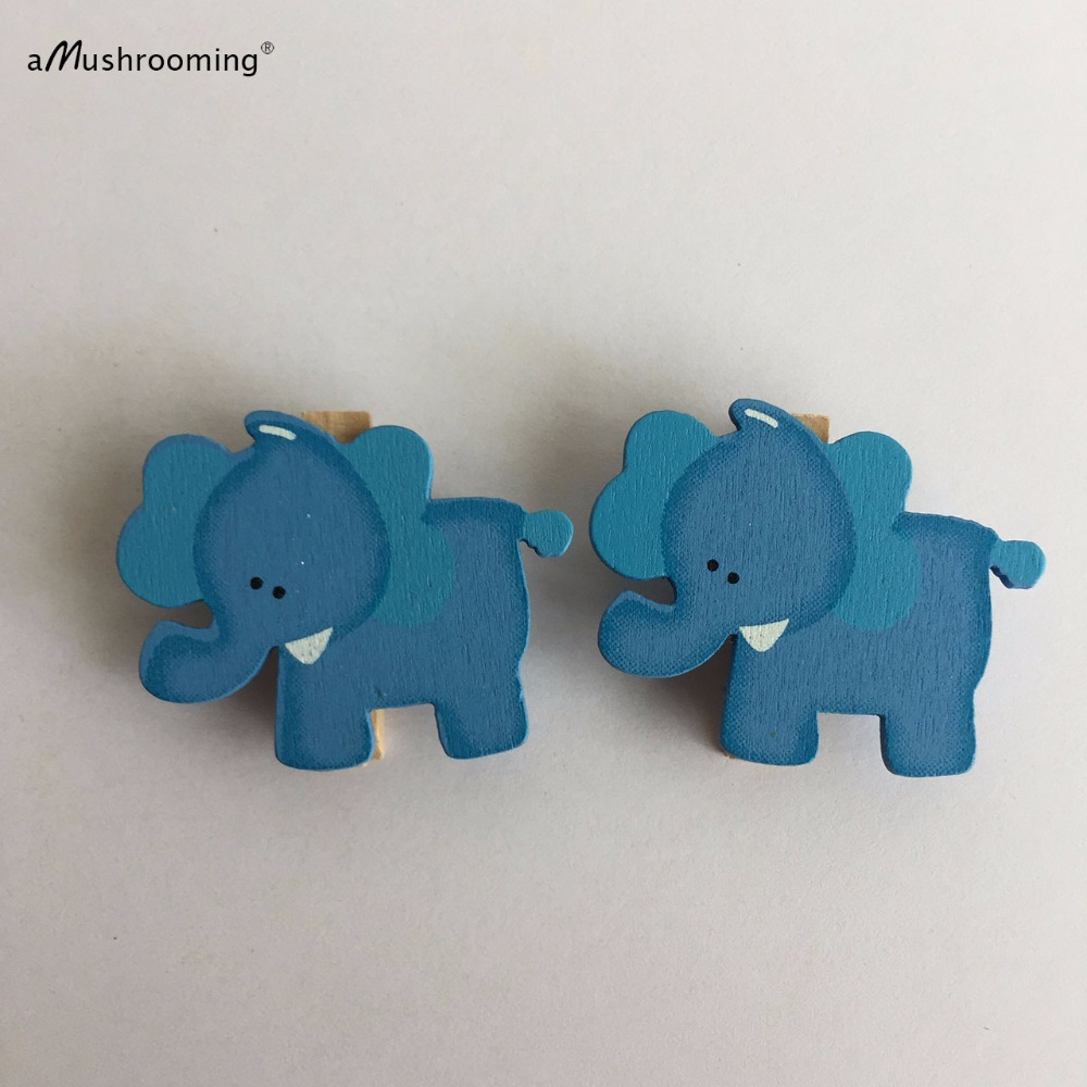 48 Baby Shower Mini Wooden Clothes Peg Clothespin Pink Blue