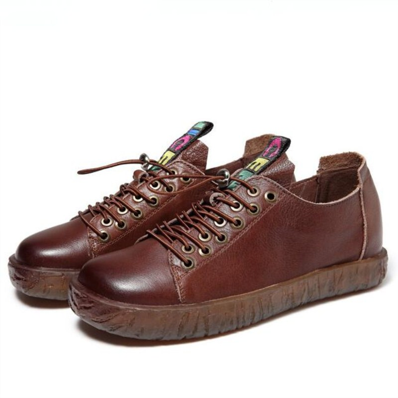 Femmes Sneakers Confortable Véritable 2019 Plates Noir marron Cuir Pour Printemps Date Appartements Confort Sauvage Chaussures Doux Plein En Décontracté VzMSLpUqG