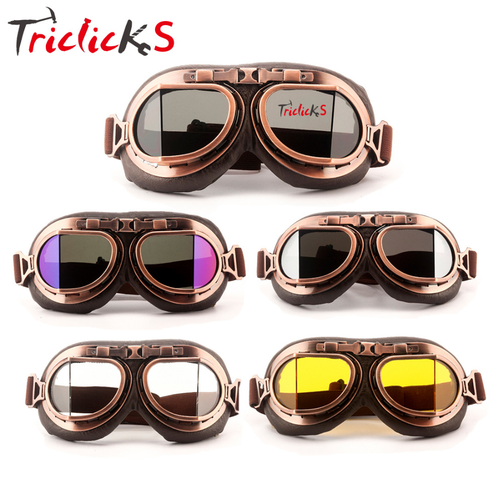 Triclicks Vintage Pilot Helmet Steampunk Copper Motorcycle Goggle ATV Dirt Biker Retro Unisex Goggles Eyewear Bicycle