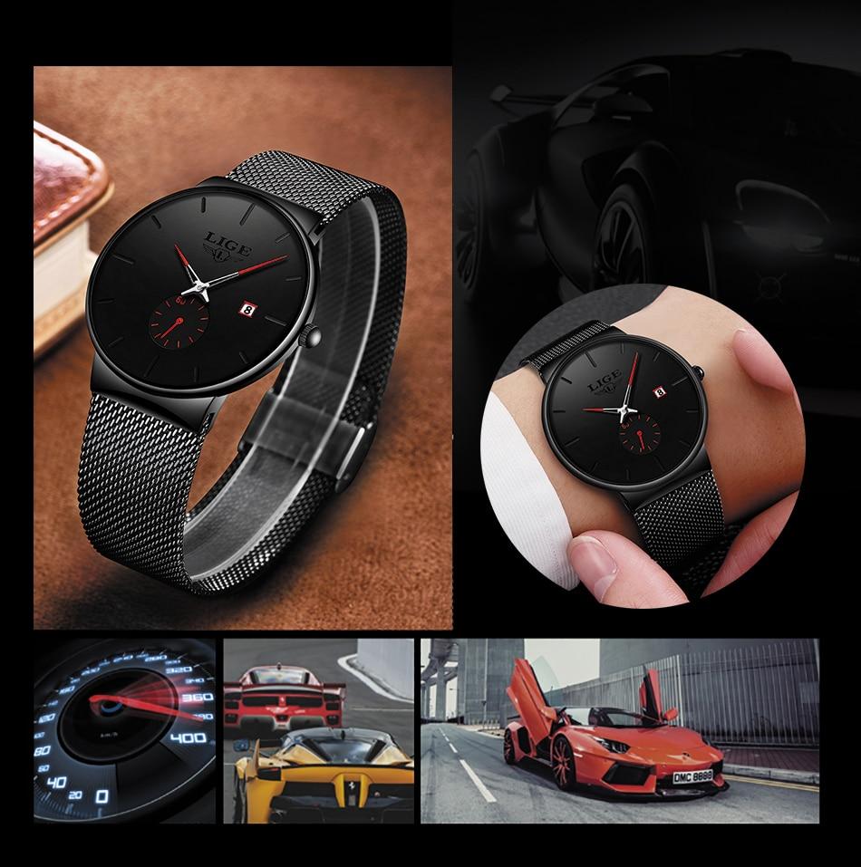 HTB1mNUoe3mH3KVjSZKzq6z2OXXa3 Relojes Hombre LIGE New Mesh Steel Men Watches Top Brand Luxury Ultra-thin Waterproof Quartz Watch Men Casual Sport Quartz Clock