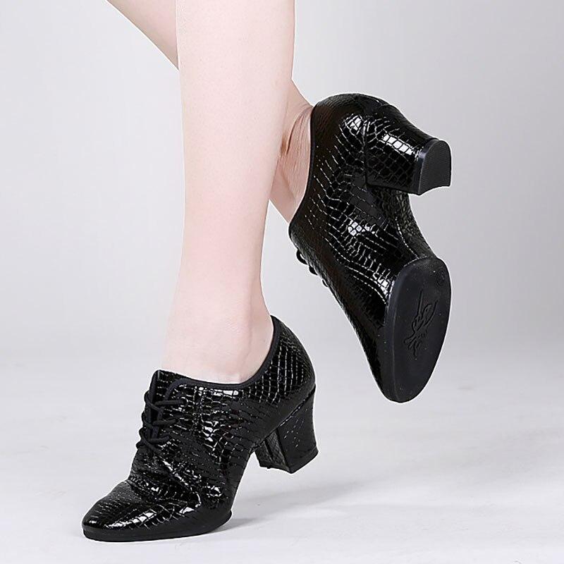 BD87 talon 5 cm semelle souple motif pierre pleine fleur cuir ChaCha professeur chaussures de danse salle de bal Latin Ballet danse chaussures femme