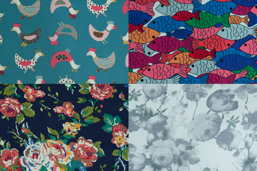 Elastic knit cotton blend fabric, cartoon, animal, fish, stretchy, sew for top, t-shirt,dress,pants,craft by the yard