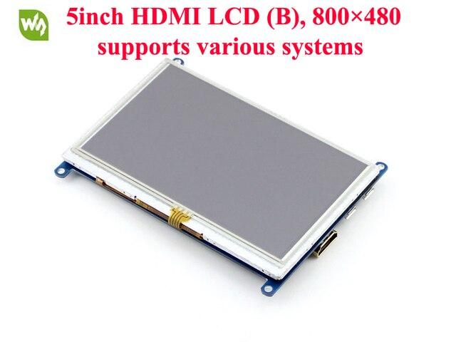 2 шт./лот Raspberry Pi ЖК-Дисплей 5 дюймов HDMI ЖК-ДИСПЛЕЙ (B) 800x480 Сенсорный Экран Поддержка Raspberry Pi, банан П. и., BB Черный