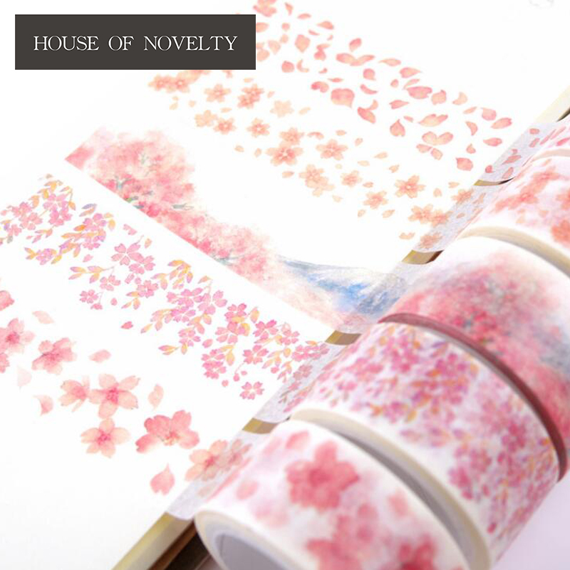 2 Cm Wide Pink Cherry Trees Under Mt Fuji Washi Tape Adhesive Tape DIY Scrapbooking Sticker Label Masking Tape