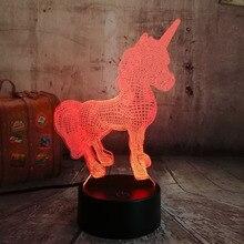 2019 Beautiful Unicorn Romantic Gift 3D LED Table Lamp 7 Color Change Night Light Room Decor Lustre Holiday Girlfriend Kids Toys
