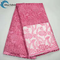 French Net Lace Fabric Pink African Lace Fabric With Embroidery High quality Tulle Lace Fabric with Beads+Stones For Dress