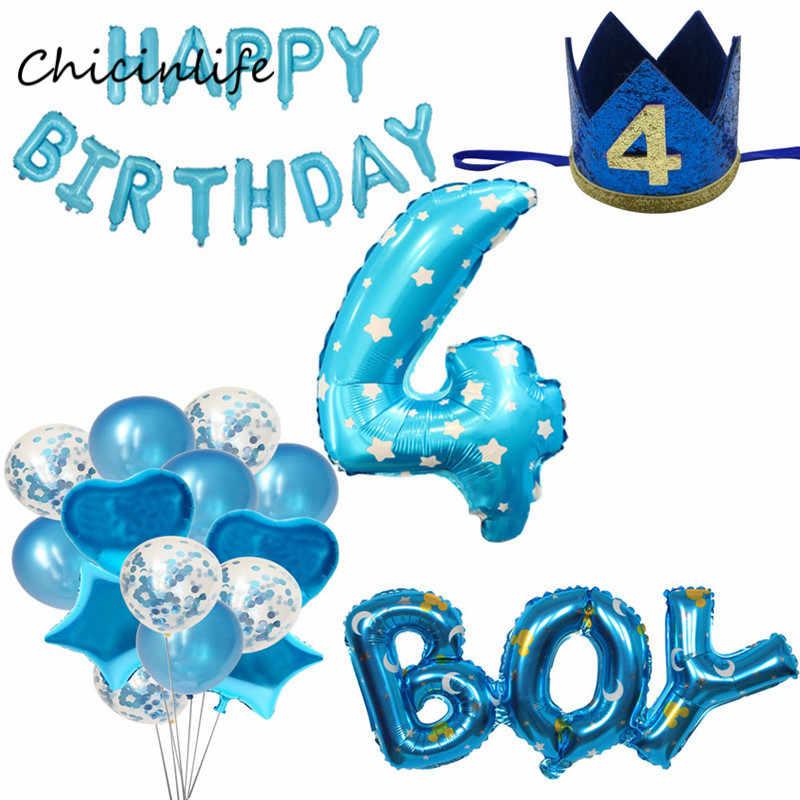 Chicinlife Boy Girl 4th Happy Birhday Decoration Number 4 Balloon Birthday Crown Hat Year Old