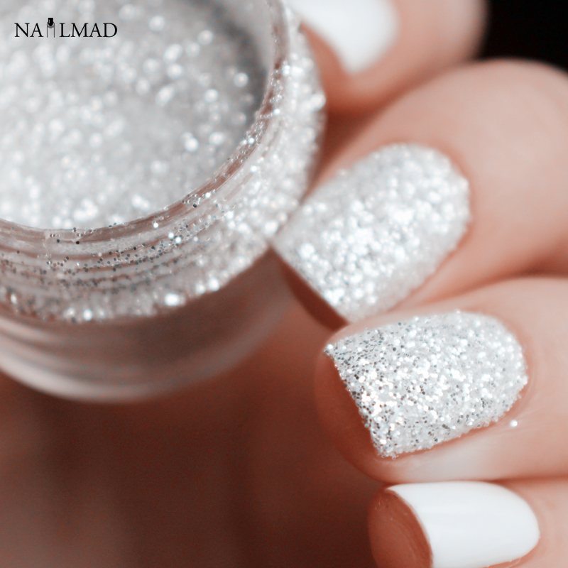10ml Glänsande Silver Nail Glitter Sequin White Glitter Powder Nail Art Pulver Damm Fe Stoft Makeup Manicure Nail Decoration