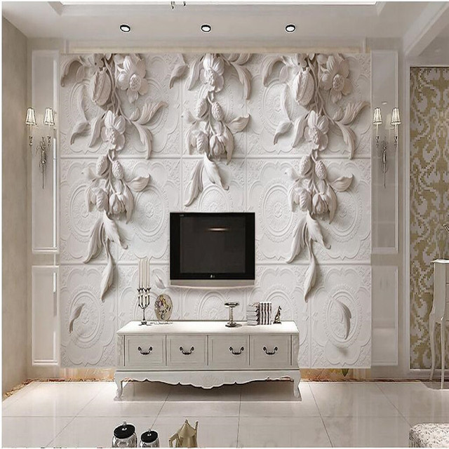 Good Beibehang Painting For Living Room Background Photography HD White Flowers  Embossed Visual Arts Hotel Wall Wallpaper
