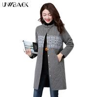 Uwback 2016 New Brand Winter Jacket Women Long Warm Print Outwear Parkas Mujer Plus Size Loose