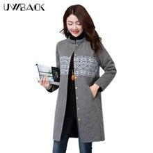 Uwback 2017 New Brand Winter Jacket Women Long Warm Print Outwear Parkas Mujer Large Size Slim