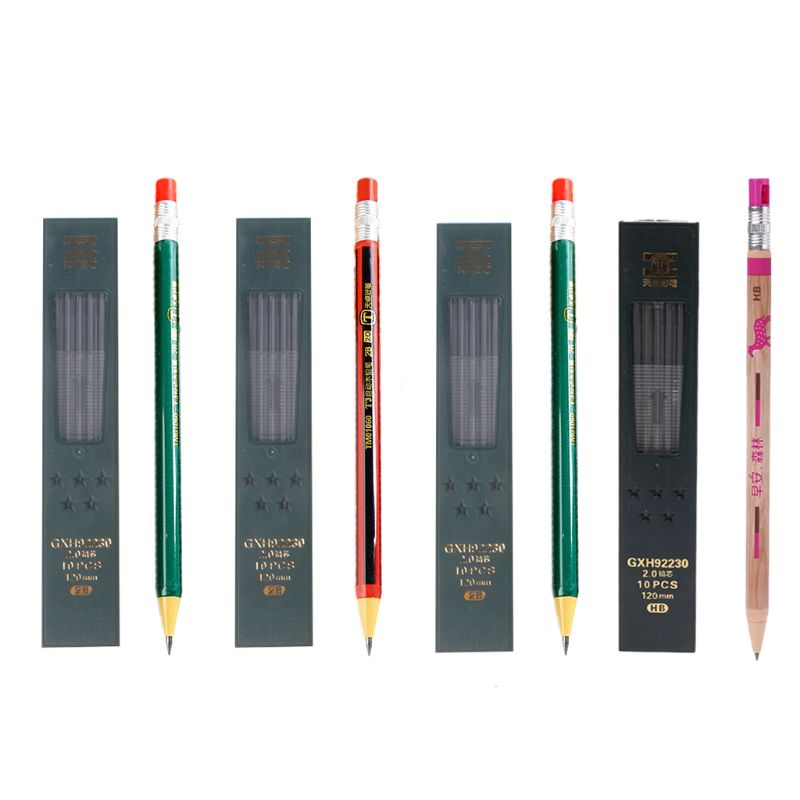 1Set Mechanical Pencil Refillable Type With Refill Box Simple Click 2.0 Mm