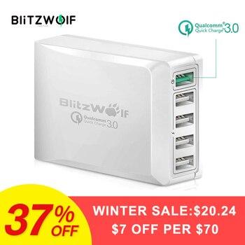 BlitzWolf BW-S7Carga Rápida QC3.0Adaptador Cargador USB 5 Puertos Inteligentes Escritorio Cargador de Viaje para Teléfono Móvil Para Teléfonos Inteligentes