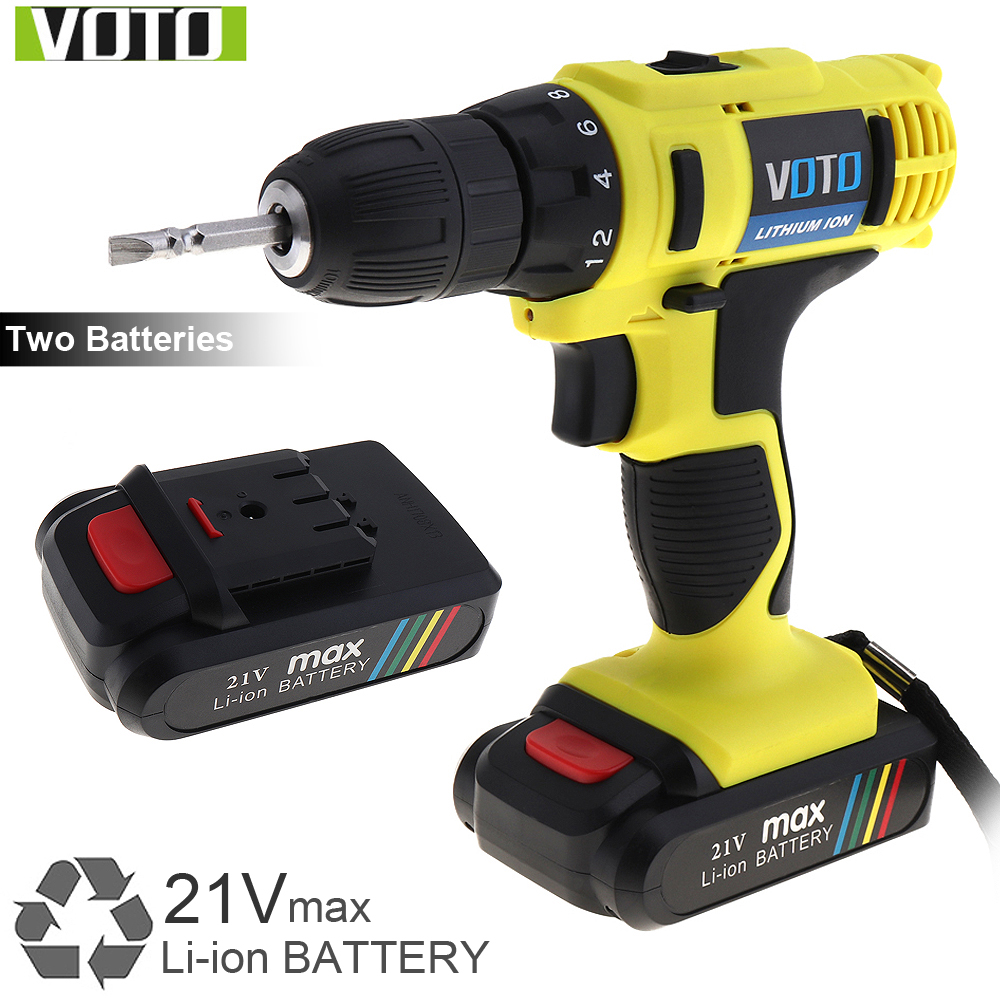 VOTO AC 100 - 240V Cordless 21V Electric Screwdriver / Drill with 2 Lithium Batteries and Two-speed Adjustment Button
