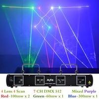 AUCD 4 Lens 7CH DMX 512 RGBP Laser DPSS Scanner Equipment Stage Lighting PRO DJ Party Disco Show Professional Lights DL 55B