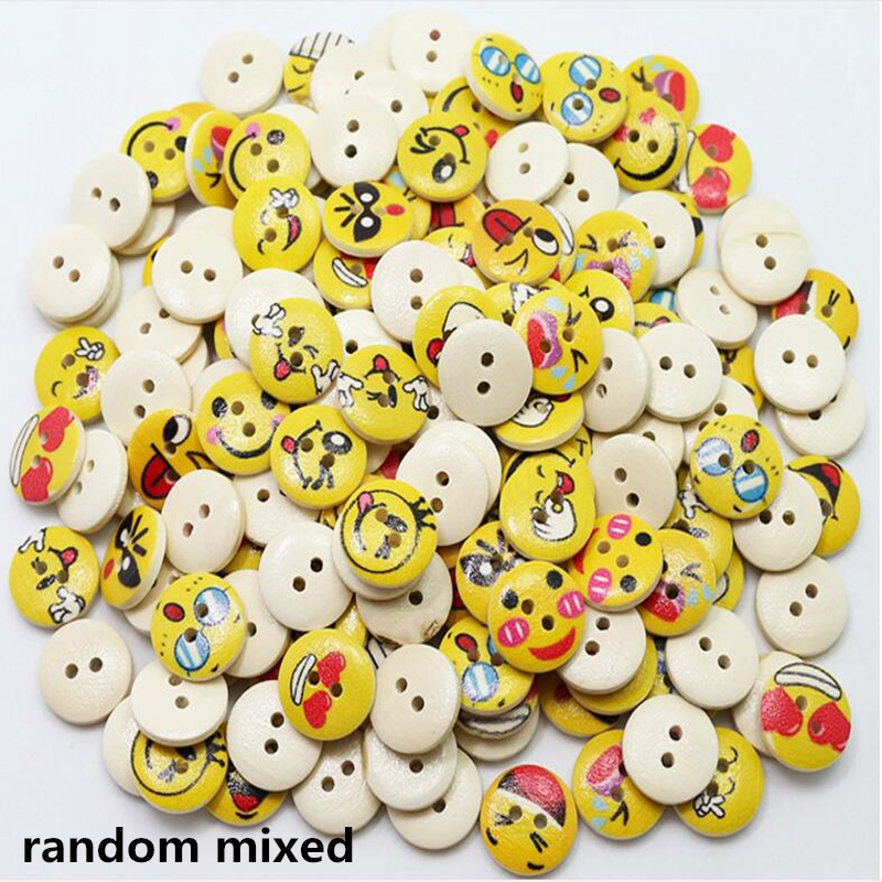 100pcs/lot Natural wood material expression pattern 2holes round painted children cartoon natural wood buttons