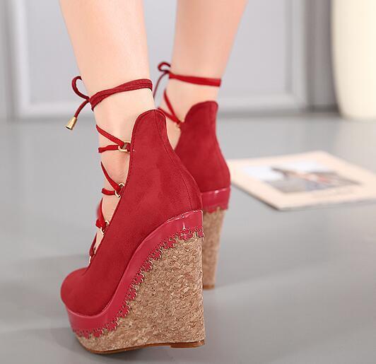 red bridal shoes Platform Wedges shoes High Heels shoes pumps extreme High Heels Pumps Platform shoes Wedges lace up pumps D929