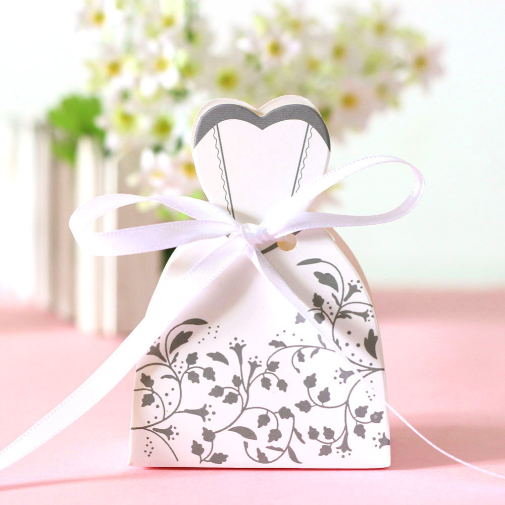 100pcs Wedding Candy Box Bride And Groom Candy Bag Wedding Favor Box ...