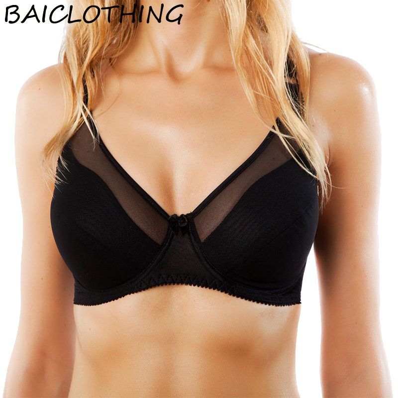 e0963014ae5bb BAICLOTHING Womens Big Size Full Coverage Wide Straps Underwire Ultra Thin  Smooth Bralette Minimizer Bra 42 ...