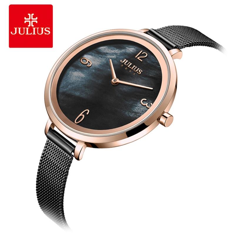 цена на Julius Vintage Women Watches Fashion Stainless Steel Mesh Bracelet Watch Ladies Big Dial Quartz Wristwatch Clock Reloj Mujer