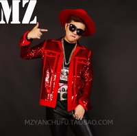 BIGBANG male singer DJ right Zhi long GD red sequins stitching jacket Men stage performance coat costumes ! S-5XL