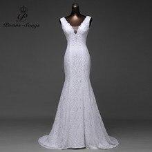 Darmowa wysyłka bardzo piękna koronka Sexy romantyczna suknia ślubna syrenka 2020 backless vestidos de noiva szata de mariage suknie balowe