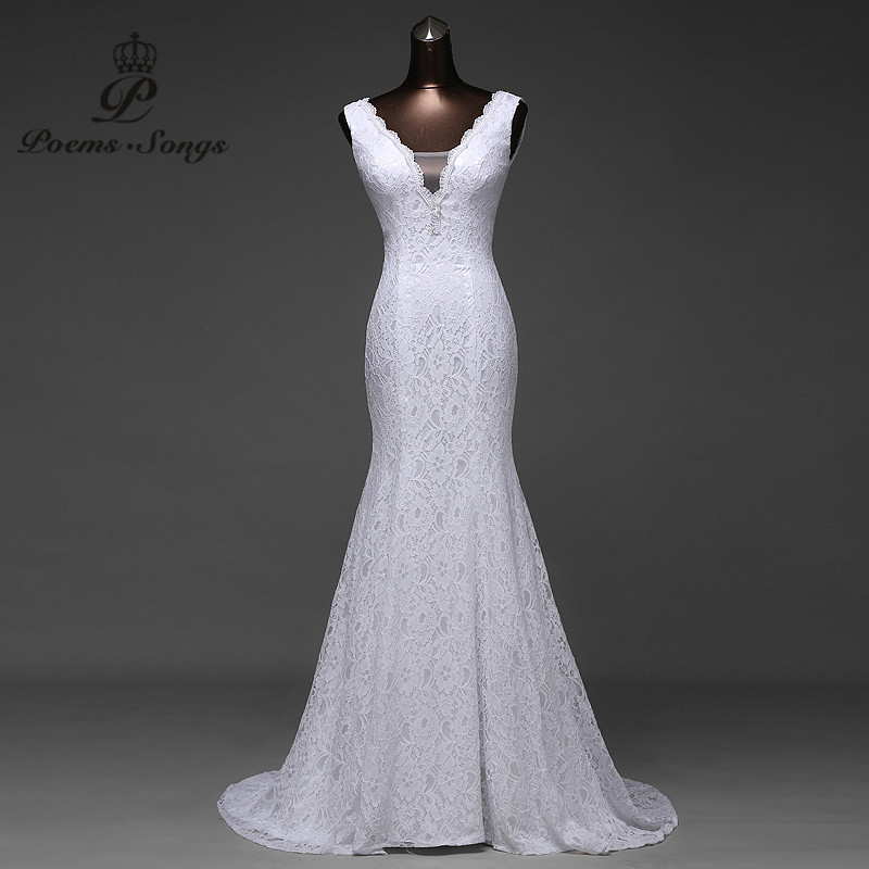 Ücretsiz kargo çok güzel dantel Seksi romantik mermaid gelinlik backless vestidos de noiva robe de mariage abiye