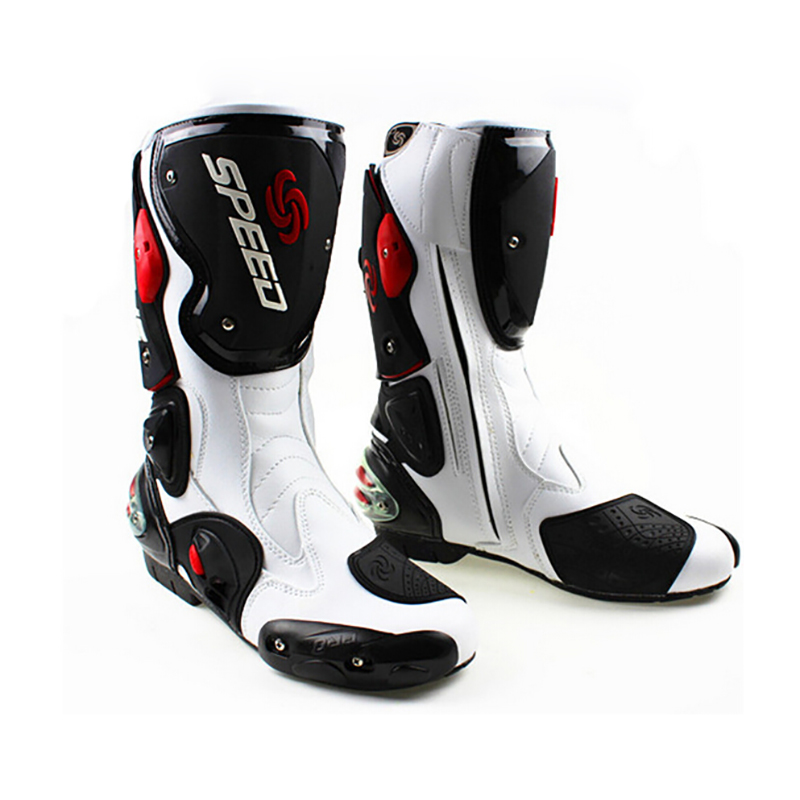 Mannen Motorfiets Beschermende Gear Laarzen Pro Biker Speed Riding Schoenen Motocross Microfiber Lederen Laars Botas Motorlaarzen - 2