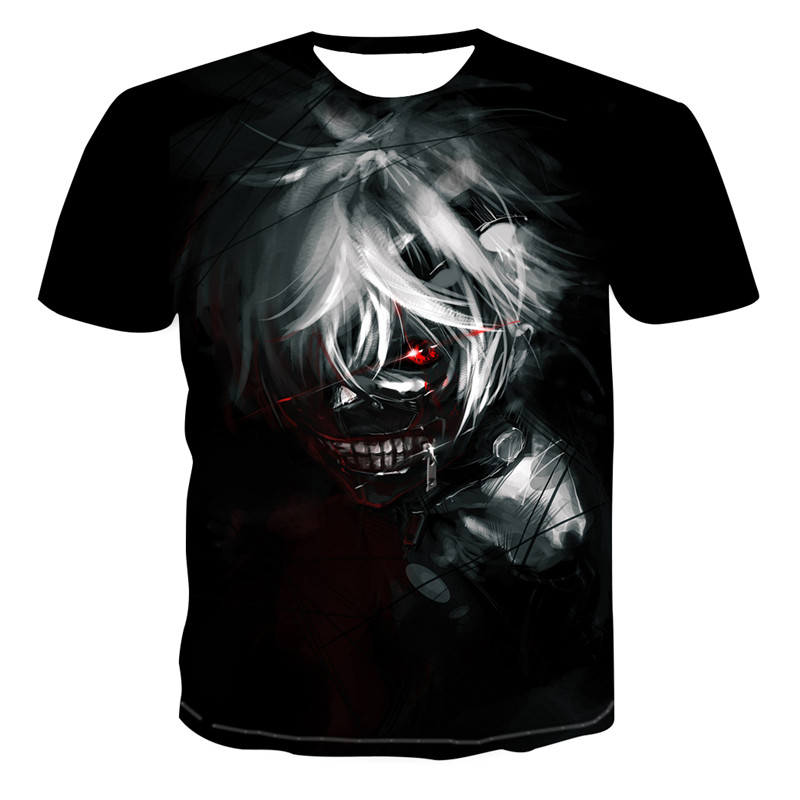 Tokyo Ghoul Anime Kaneki Ken 3d print   T  -  shirt   Men Hip Hop Short Sleeve Black   T     Shirts   Summer tops New style Fashion Mens TShirt